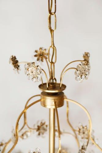 Lustre cage fleurs de pampilles en verre