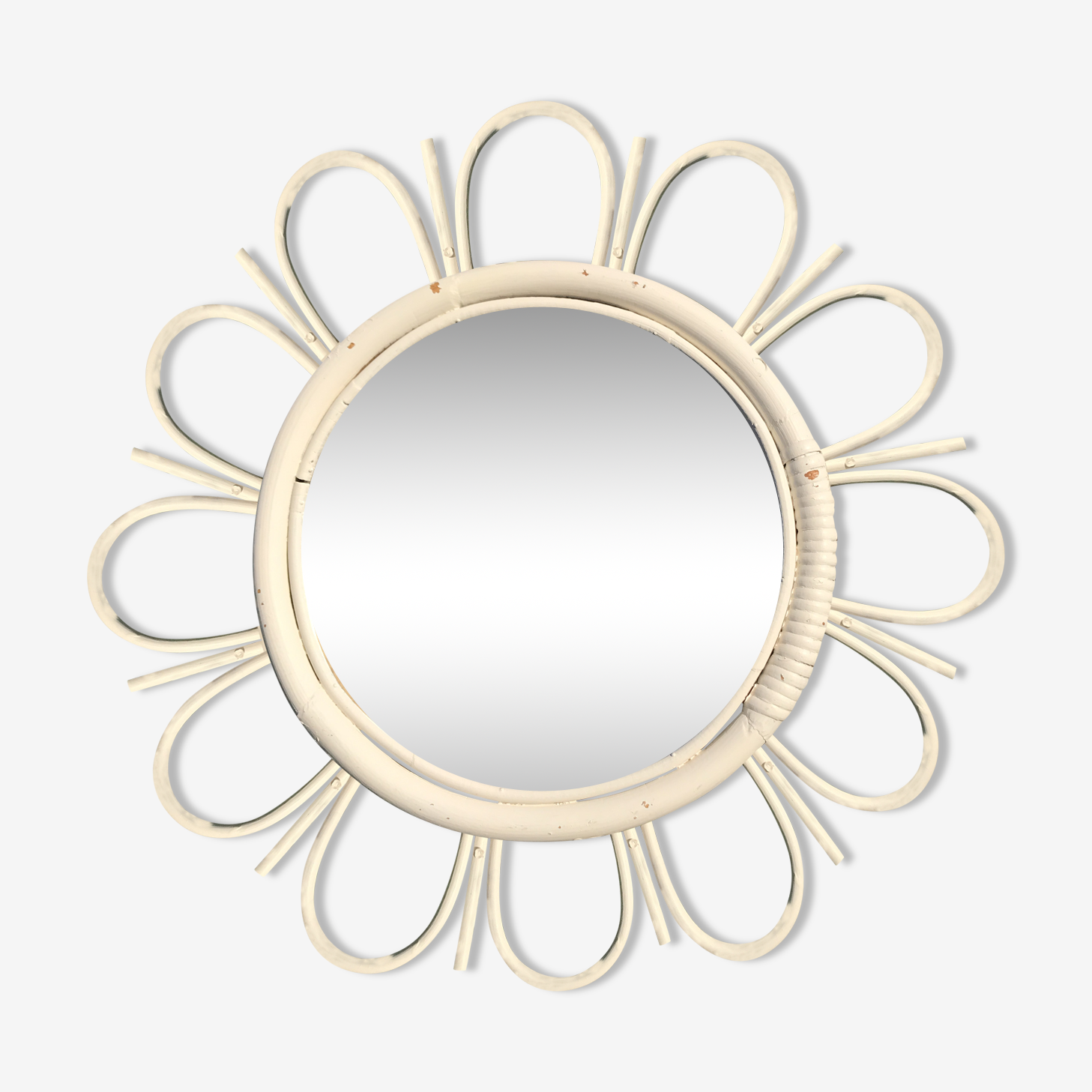 Miroir rotin soleil vintage blanc 50cm