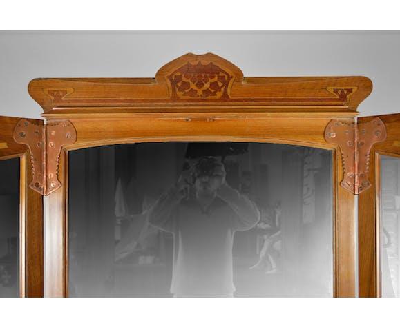 Paravent art nouveau à miroirs avec marqueterie de 1901