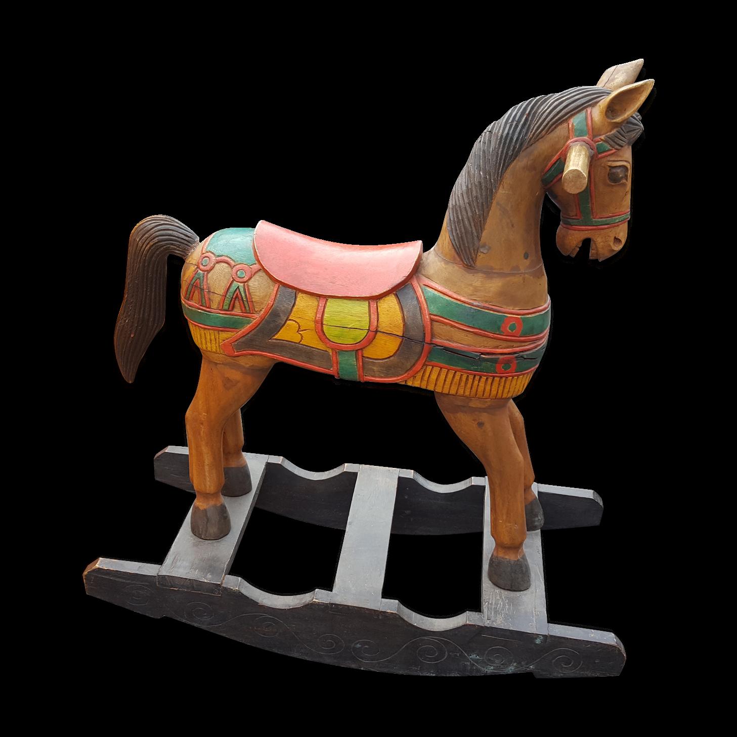 Ancien grand cheval a bascule bois - bois