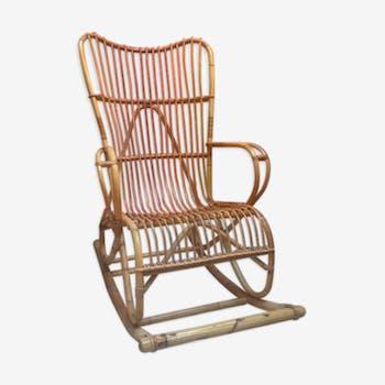 Rocking chair en rotin et bambou
