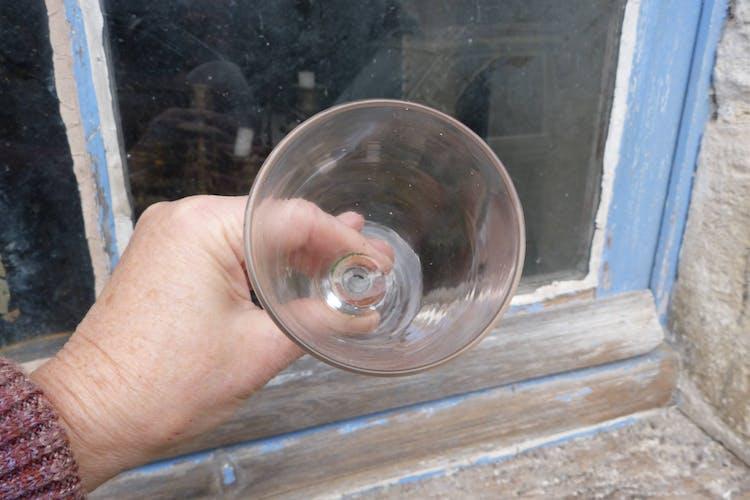 Ensemble de 5 verres à vin anciens 1900 verre soufflé bouche