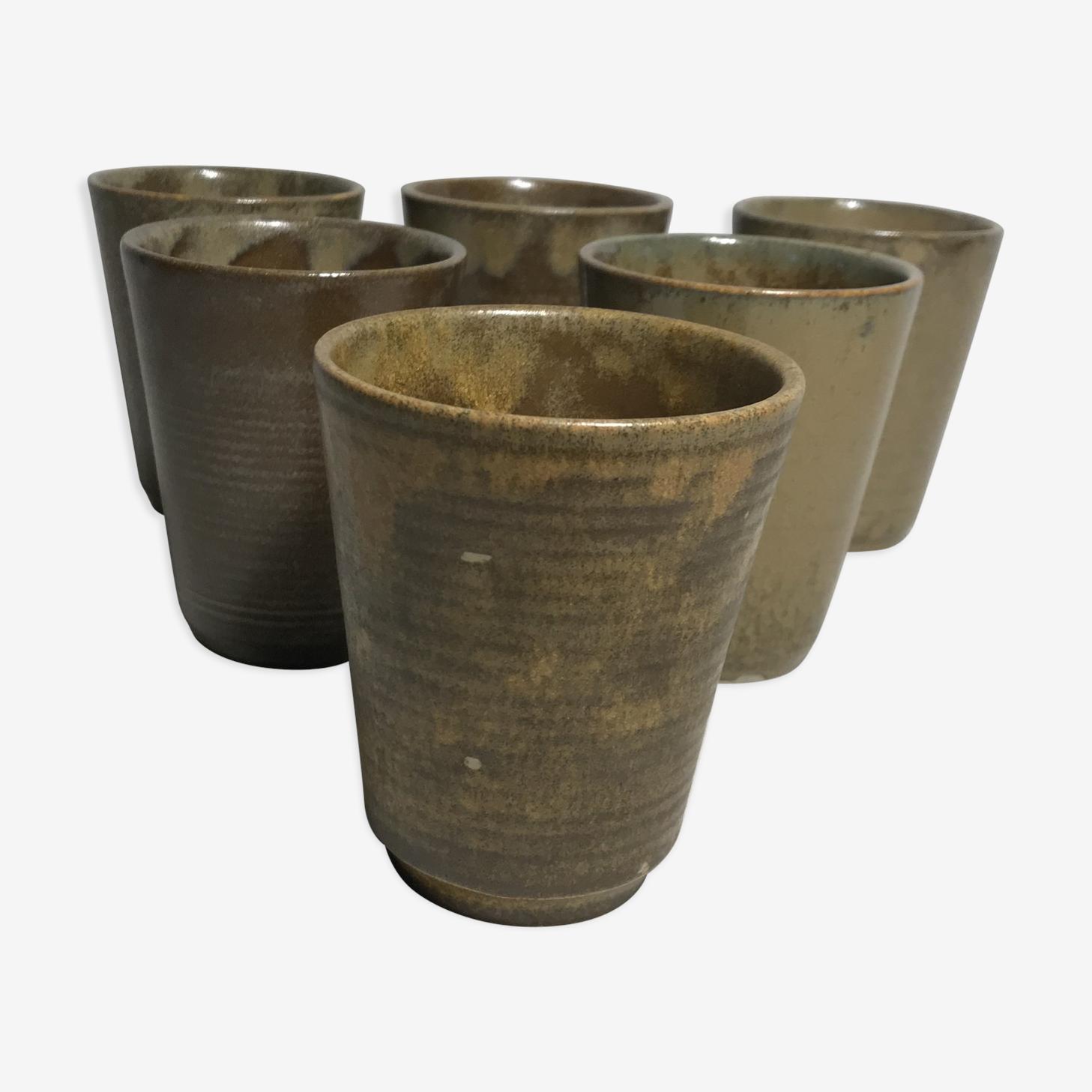 Series 6 cups old sandstone Digoin Sarreguemine vintage glasses