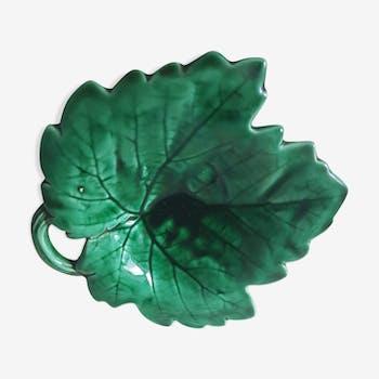 Vide-poche feuille en céramique verte vernie années 70