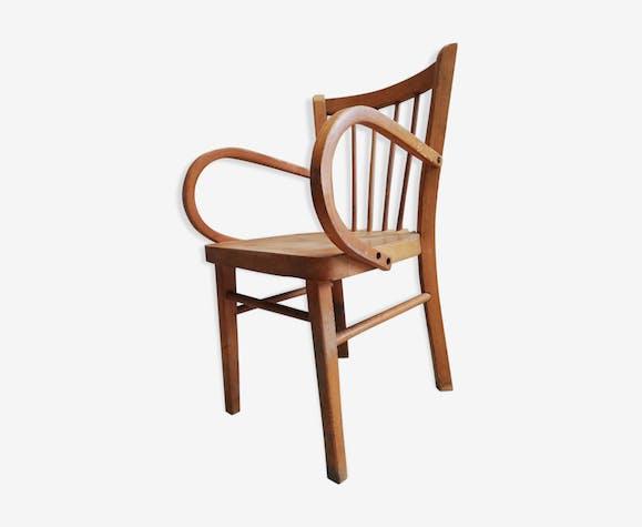 Chaise fauteuil bois enfant estampillé Baumann vintage 50 60