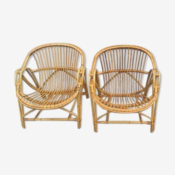 Pair of 1960 rattan armchairs