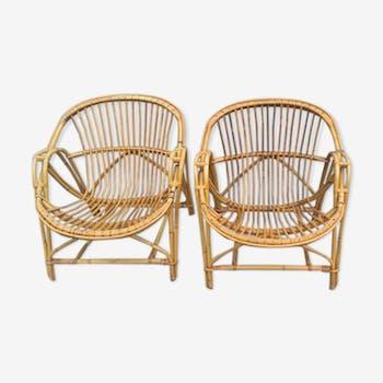 Paire de fauteuils en rotin 1960