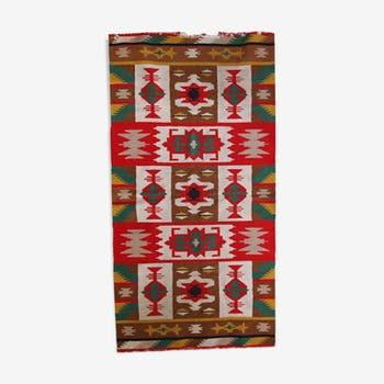Carpet vintage Turkish Anatolian kilim made hand 89x173cm 1970 s