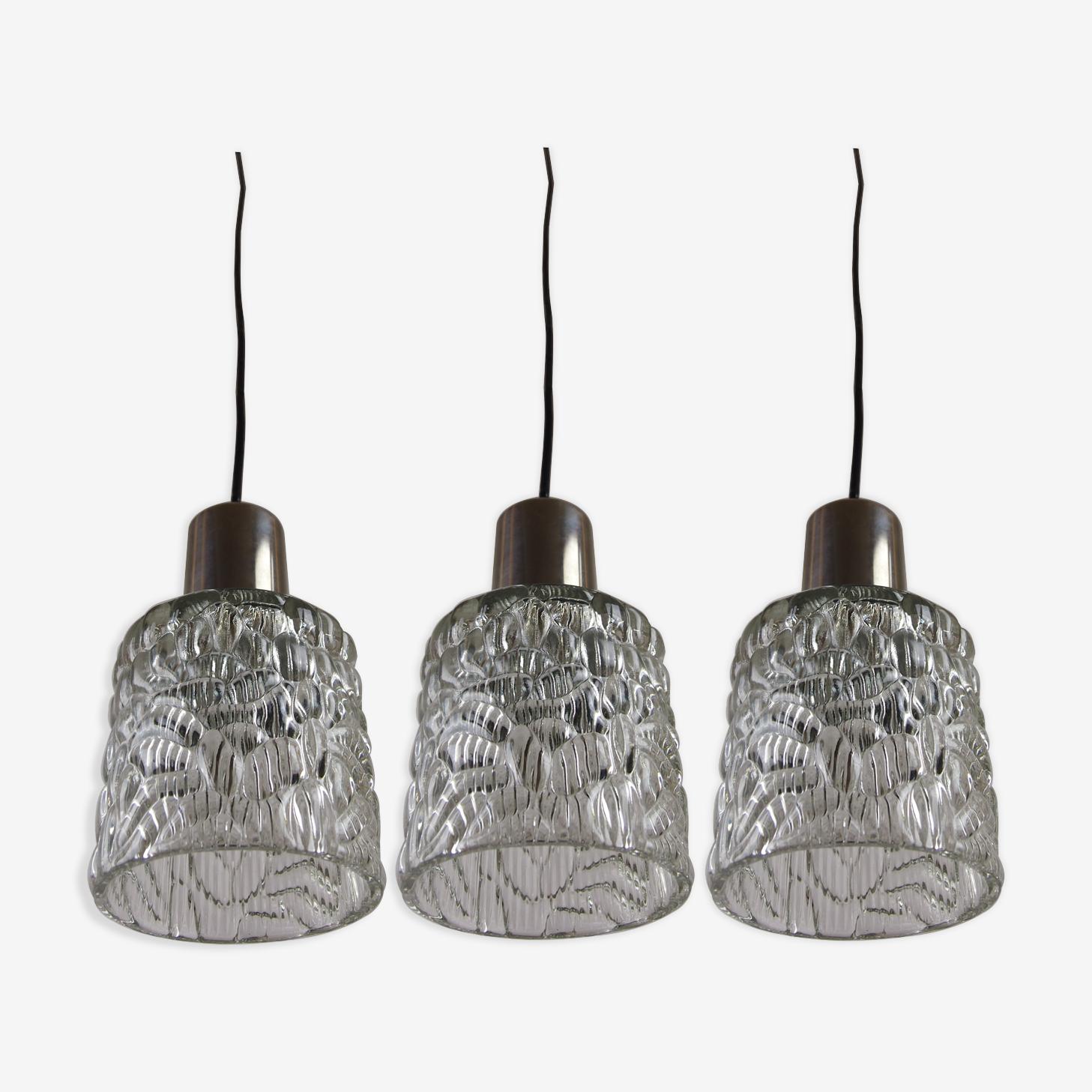Set de 3 suspensions en cascade Kalmar mid century en verre texturé