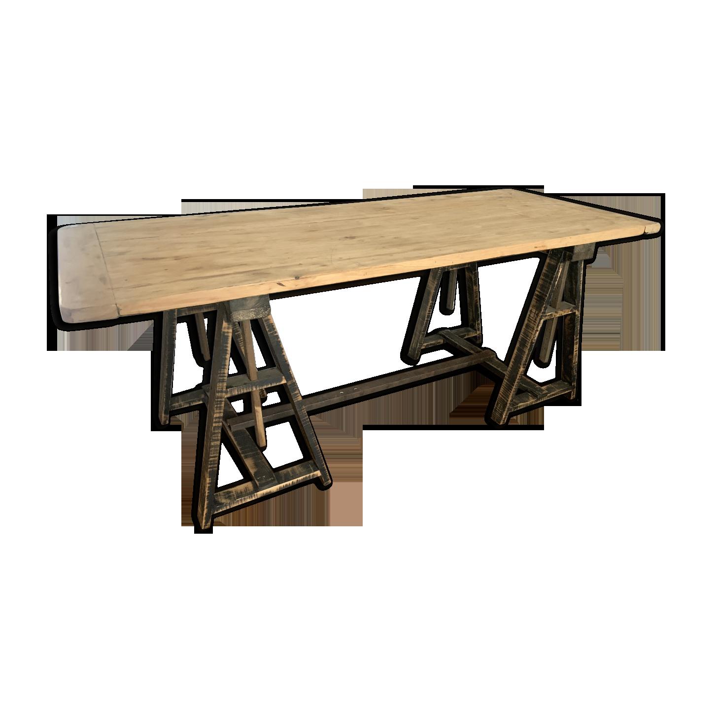 Ancien bureau à tréteaux bois matériau bois couleur