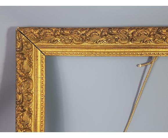 Cadre ancien en bois & stuc doré époque 1900 66x50cm, feuillure 57x41 cm S26
