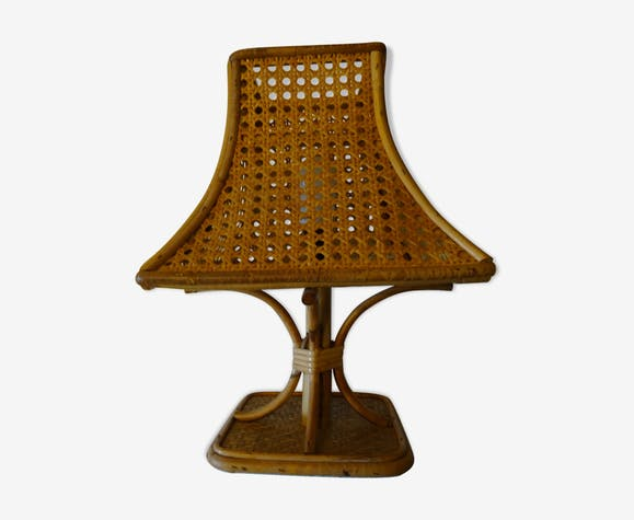 Lampe vintage en rotin et osier