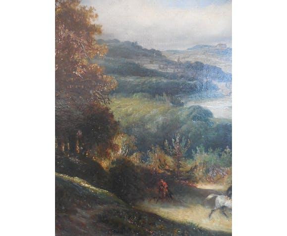 Peinture à l'huile du XIXe siècle par François Gabriel Lépaulle