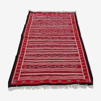 Carpet kilim Berber red and black in pure wool handmade 100 x 200 cm
