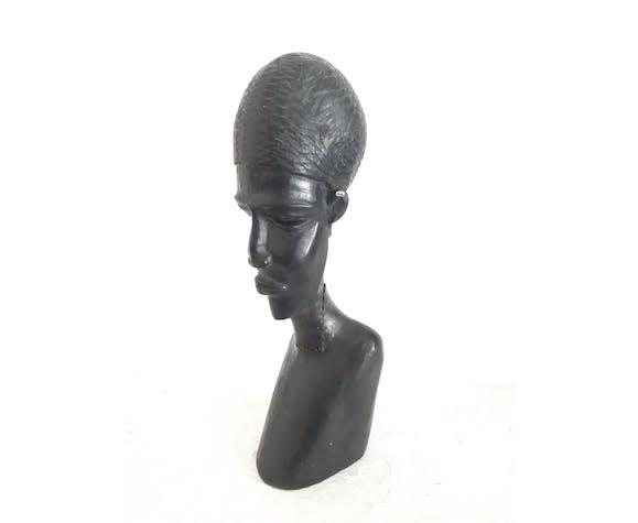 Buste en bois d'art africain
