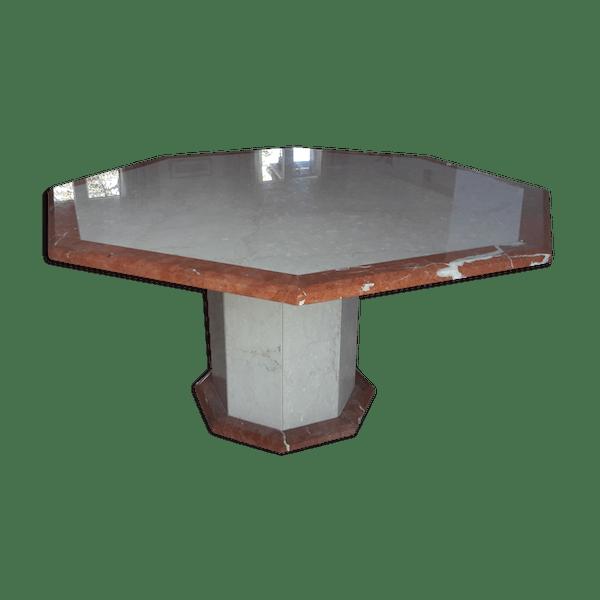 Table octogonale en marbre - marbre - beige - bon état - classique - CTa7VVB