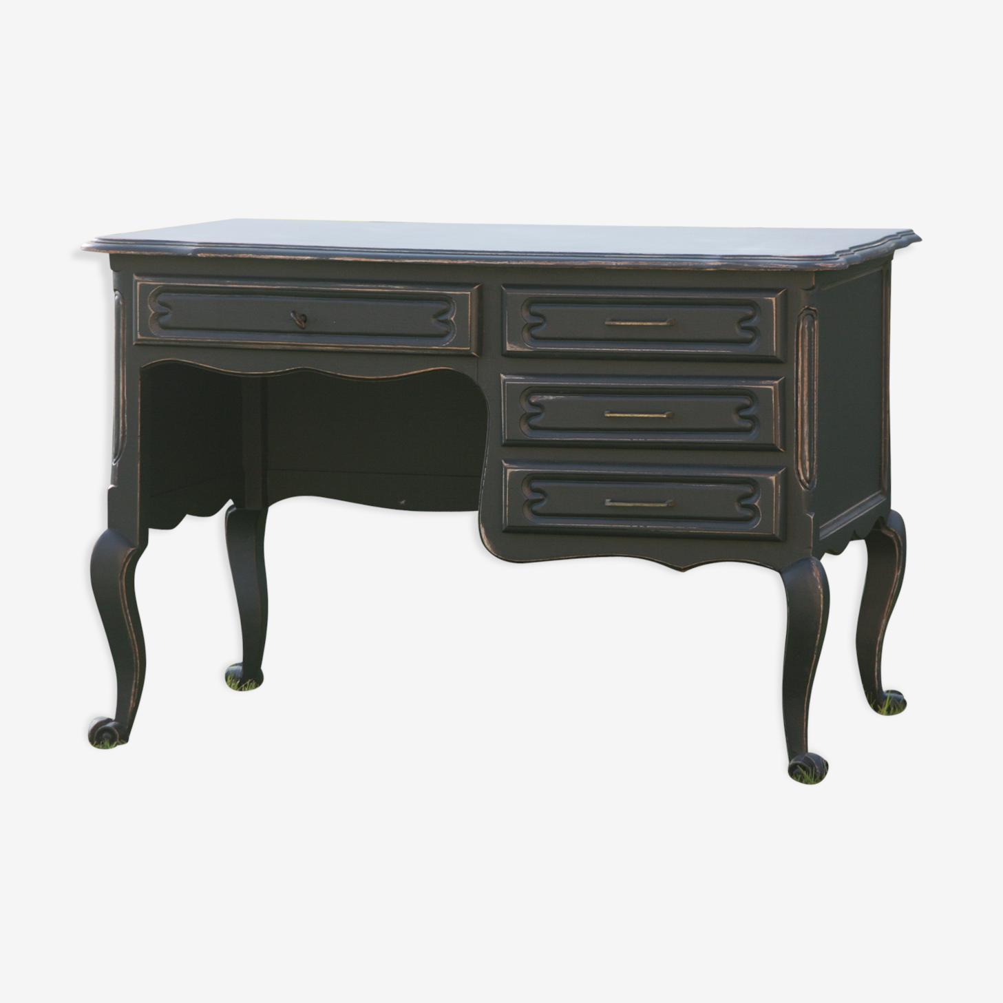 Bureau revisité style baroque noir patiné