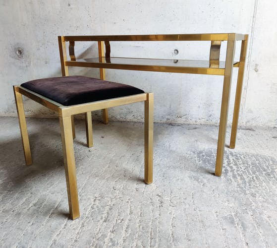 Brass console table with mirror and stool, 1970s