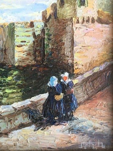 Peinture huile sur isorel signée paysage breton Bretagne port bateau personnage xx ème