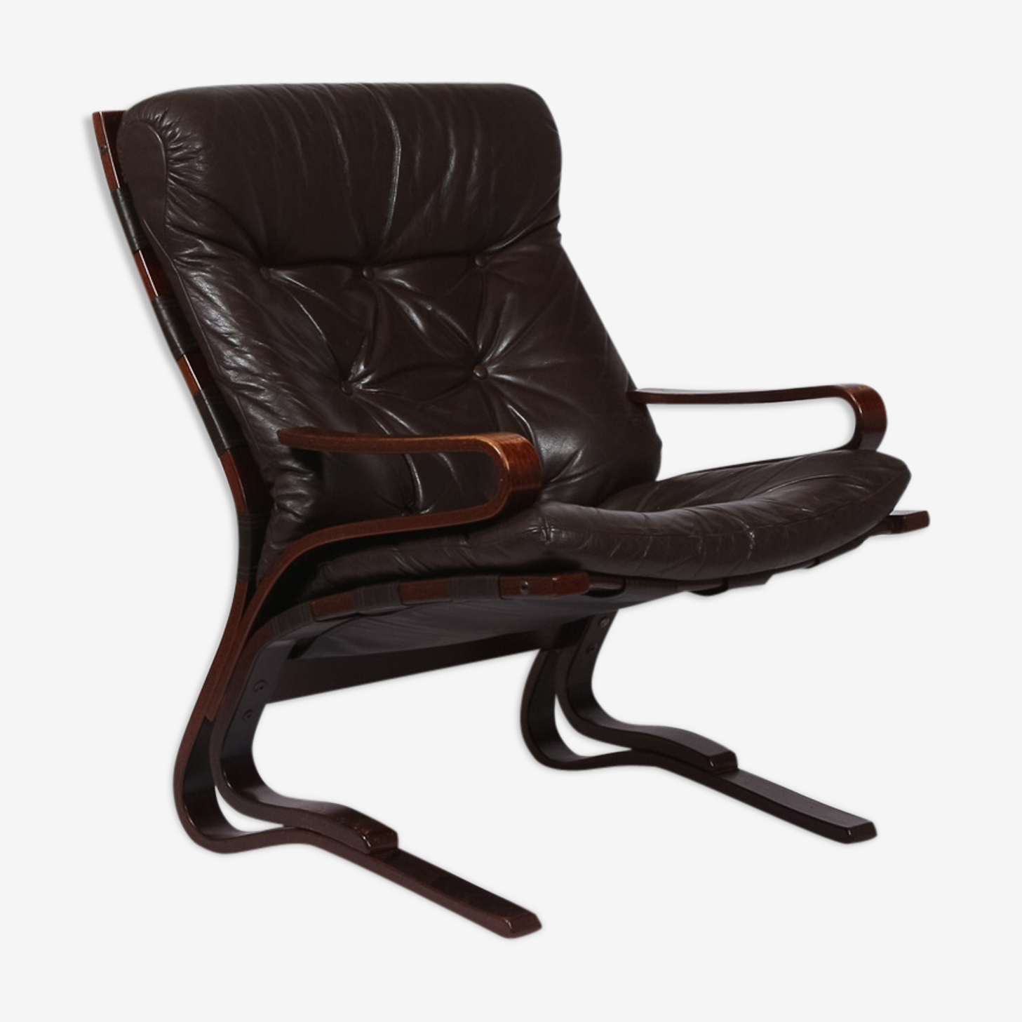 Brown leather armchair 1970