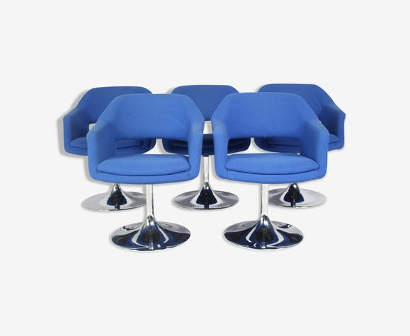 Set of 5 Vintage Largo Swivel Chairs Borje Johanson from Johanson Design