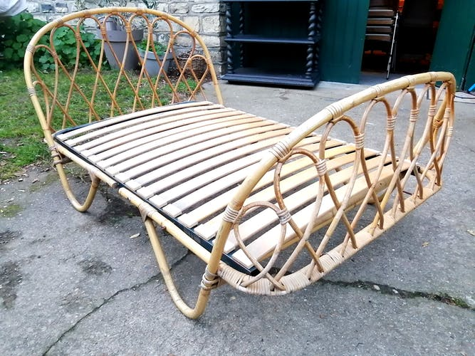 Lit corbeille banquette Vintage rotin années 60 made in France