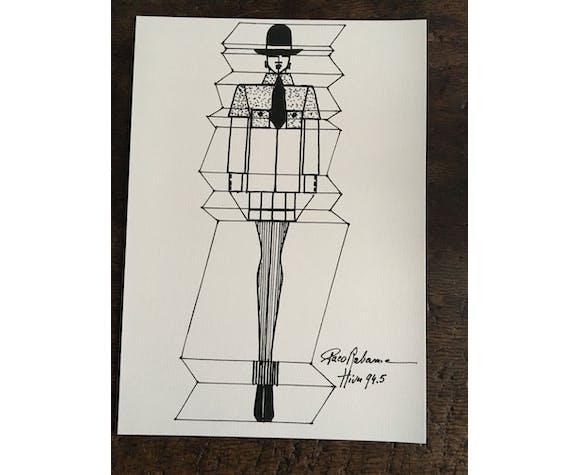 "Illustration de mode Paco Rabanne ""collection hiver 94-95"""