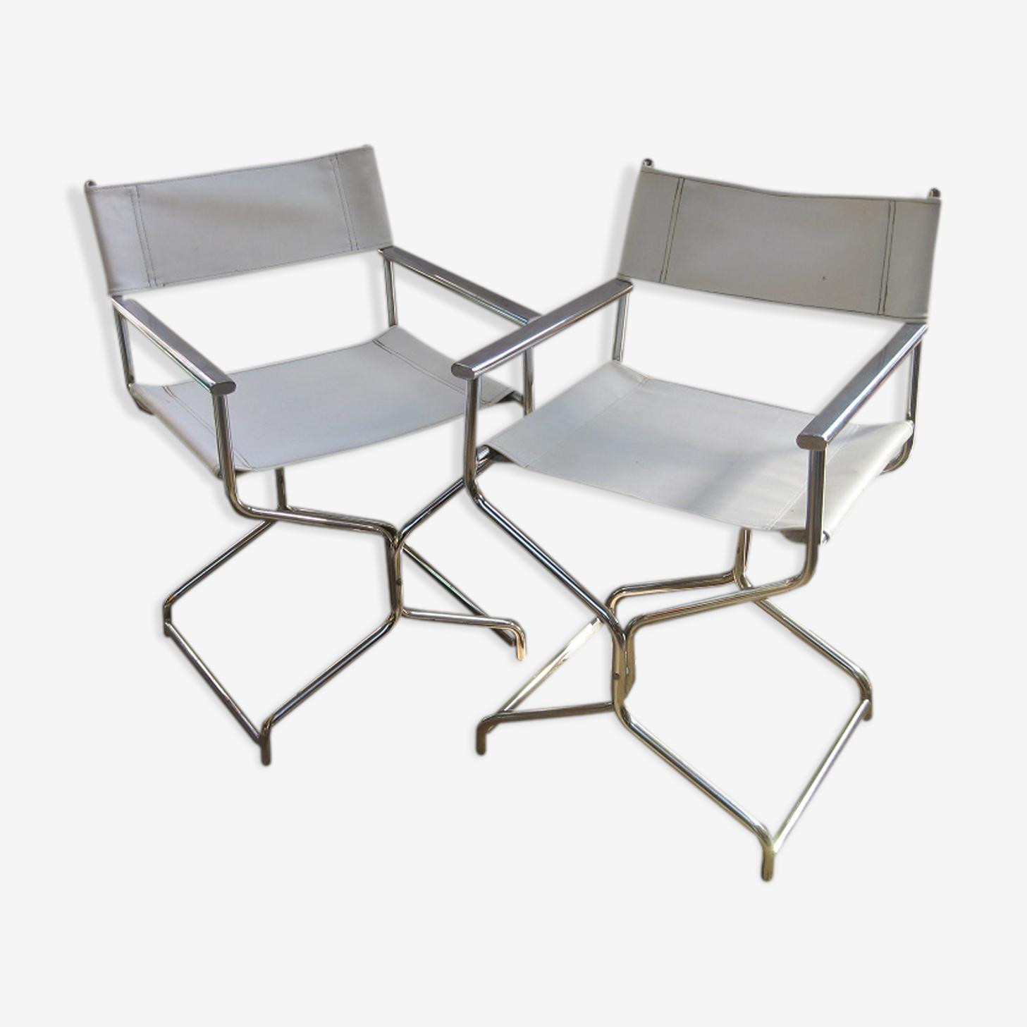Paire de fauteuils métal chromé et cuir blanc vintage