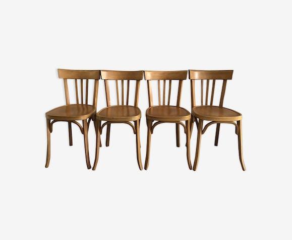 4 chaises Baumann vintage hêtre