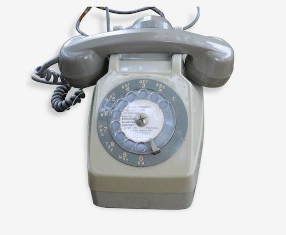 t l phone ancien gris plastique gris vintage 124528. Black Bedroom Furniture Sets. Home Design Ideas