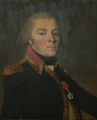 Huile sur toile portrait jeune officier empire legion d'honneur cadre doré