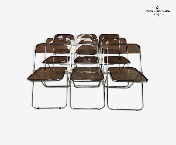 Set of 7 Plia chairs by Giancarlo Piretti for Castelli