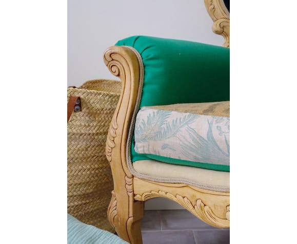 Renovated old chair green fabric, tropical and burlap
