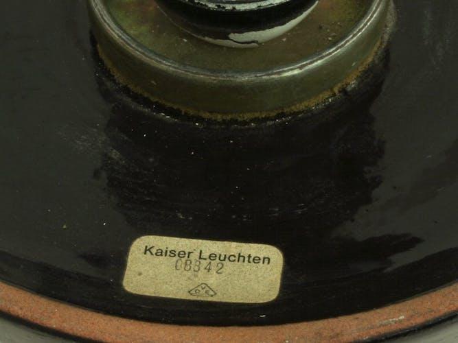 Lampadaire allemand en céramique noire par Kaiser Leuchten, années 1970