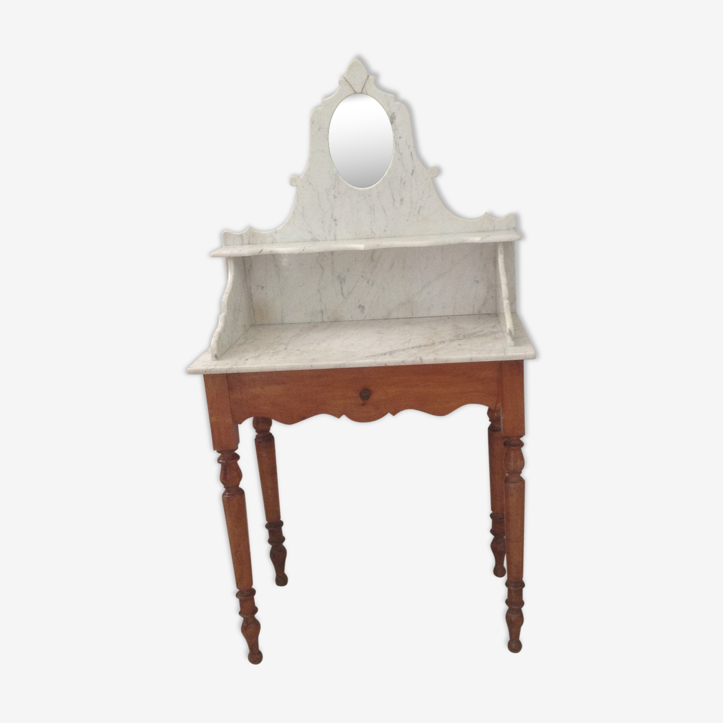 Coiffeuse Louis Philippe et son marbre avec miroir