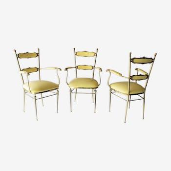 Trois chaises françaises en laiton