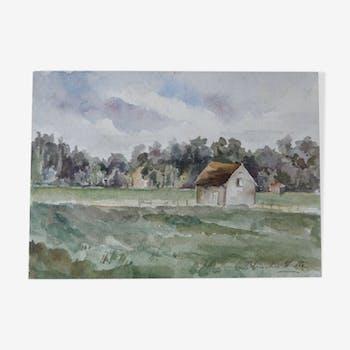 Aquarelle sur papier, paysage champêtre, XIXe signée