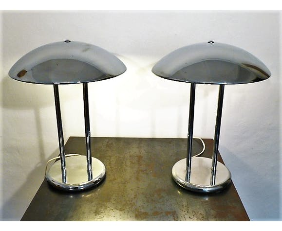 Paire de lampes de bureau vintage chrome