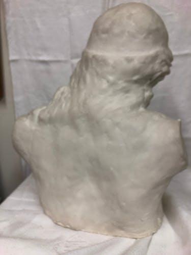 Statue buste homme barbu en plâtre