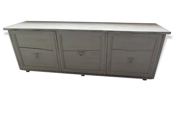 banc bout de lit meuble tv patin gris galet plateau blanchi intrieur gris - Meuble Tv Blanc Patine