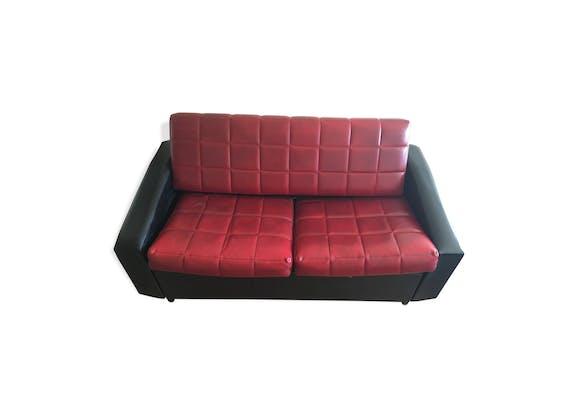 canap en ska ann es 50 60 rouge et noir convertible. Black Bedroom Furniture Sets. Home Design Ideas