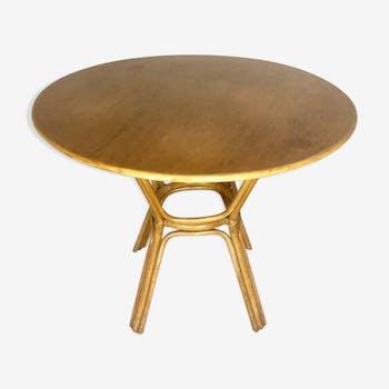 Table en bois et rotin ronde