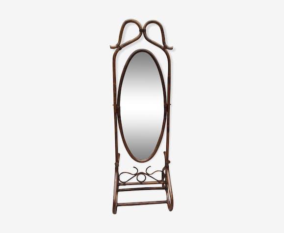 Miroir sur pied en rotin brun 57x176cm - rotin et osier - bois ...