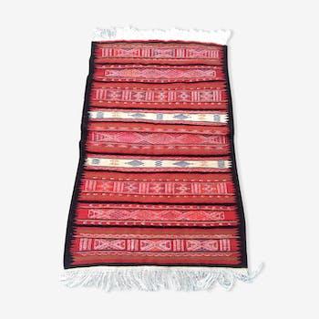 Tapis rouge en laine fait à la main 85x157 cm