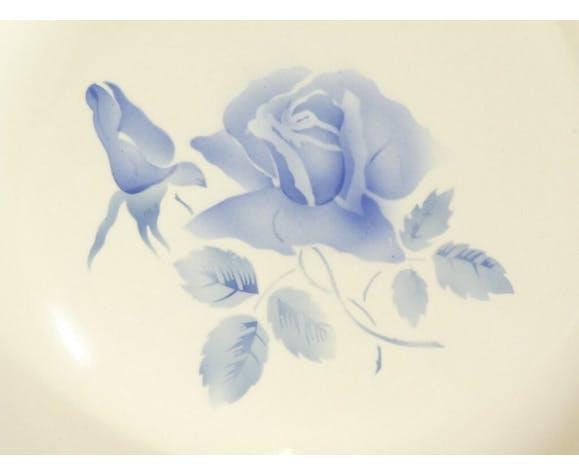 Plat rond en faiences Digoin Sarreguemines fleur rose bleu