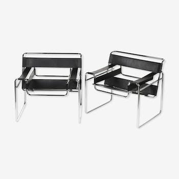 Paire de fauteuils Wassily, Marcel Breuer, design 1925