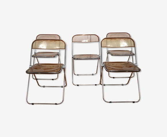 Cinq chaises pliantes Plia de Giancarlo Piretti pour Castelli, années 70
