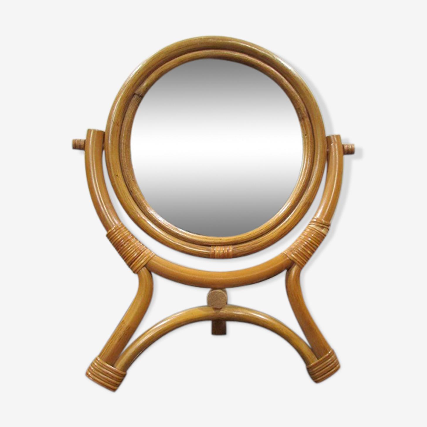 Miroir osier et rotin tressé sur pied