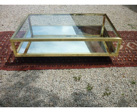 Table basse en laiton verre et miroir 1960/1970