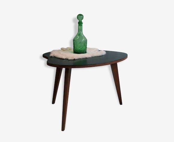 Petite Table Basse En Bois Tripode Vintage Plateau Noir Wood